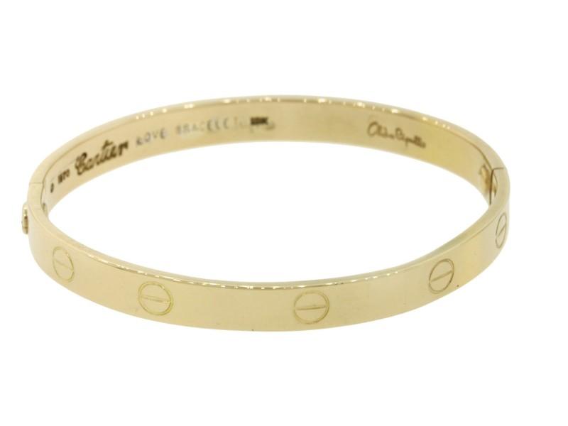 Cartier 18K Yellow Gold Love Vintage Bracelet Size 16