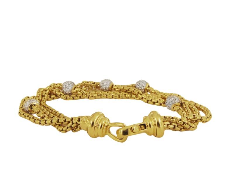 David Yurman 18k Gold Multi Four Strand Diamond Pave Ball Bracelet
