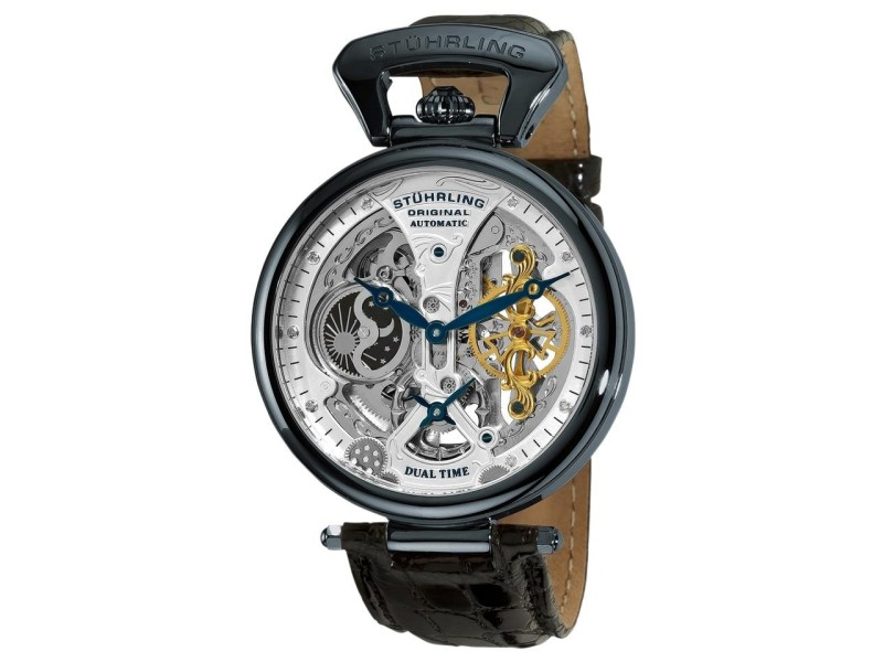Stuhrling Emperor's Grand DT 127A2.33X52 Stainless Steel & Leather 46mm Watch