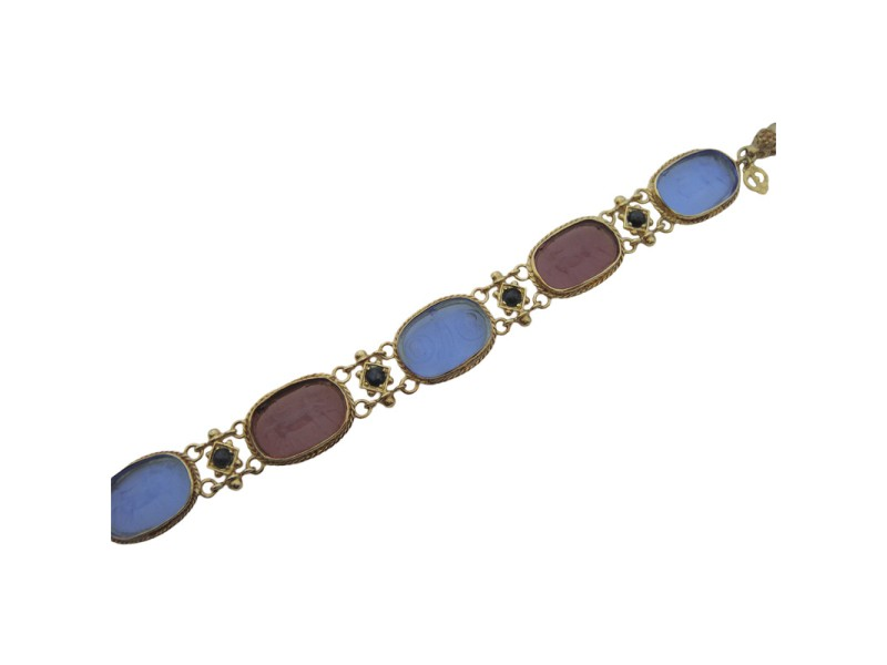 Tagliamonte Rose Gold Plated Over Sterling Silver with Venetian Glass Cameos Sapphire and Pearl Bracelet