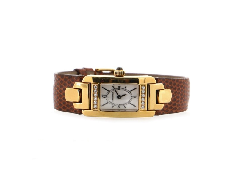 Audemars Piguet Promesse Quartz Watch Yellow Gold with Diamonds and Leather 20