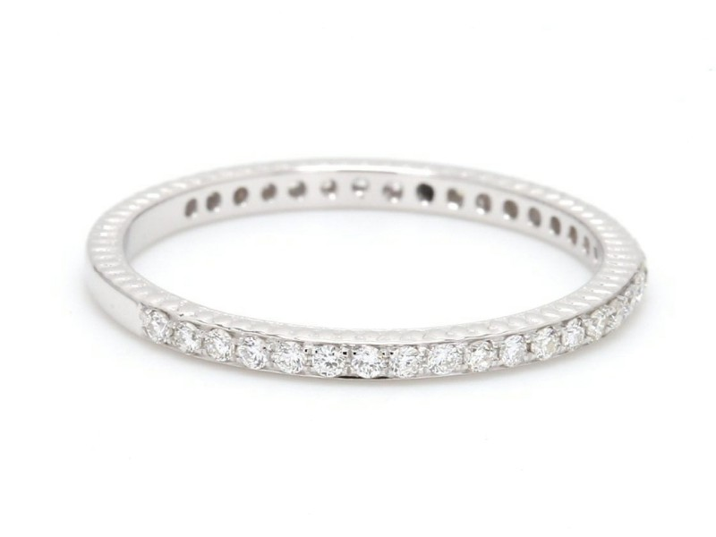 18K White Gold and 0.28ct. Diamond Eternity Band Ring Size 7.5