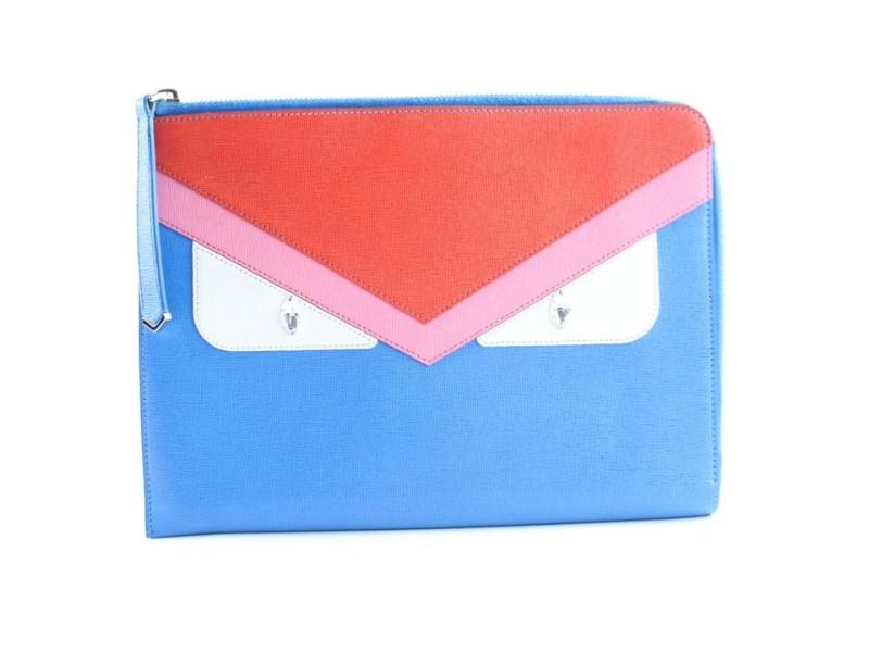"""Fendi """"Bag Bugs"""" Flat 7fr0508 Blue Saffiano Leather Clutch"""