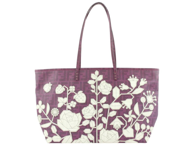 Fendi Purple Flower Spalmati Monogram FF Zucca Roll Tote Bag 62ff423