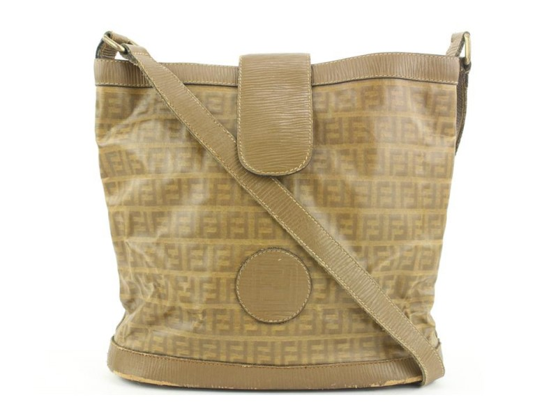 Fendi Brown FF Monogram Bucket Bag 4ff119