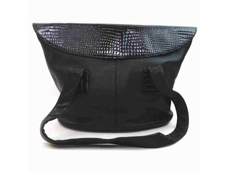 Fendi Croc Tote 860094 Black Leather Shoulder Bag