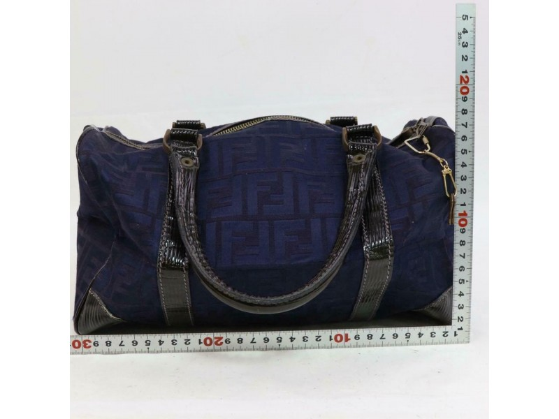 Fendi Ff Monogram Zucca Boston 870712 Navy Blue Canvas Tote