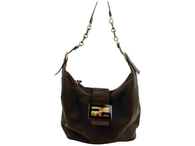 Fendi Hobo Forever Mama Chain 8br643 872978 Brown Leather Shoulder Bag