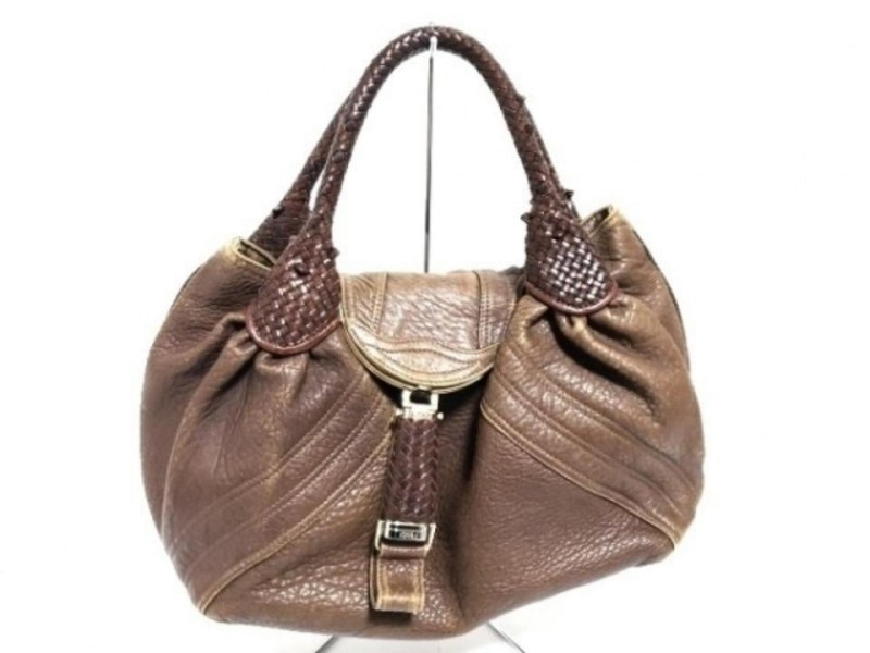 Fendi Large Brown Leather Spy Hobo Woven Handle Bag 858788