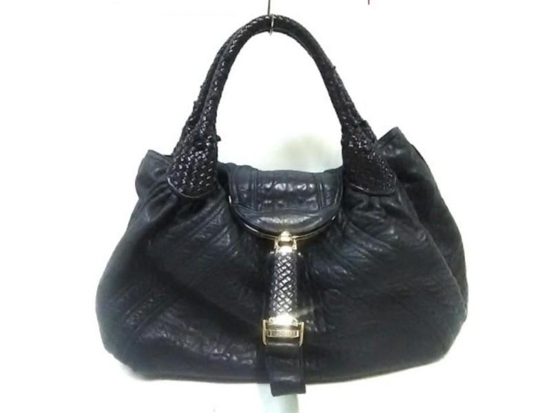 Fendi Hobo Woven 239759 Black Leather Shoulder Bag
