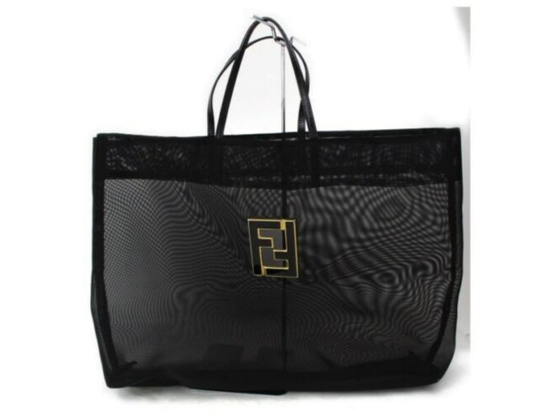 Fendi Mesh Ff Large 872860 Black Nylon Tote