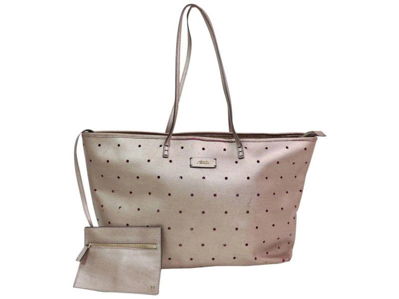 Fendi Metallic Perforated Roll with Pouch 870587 Pink Leather Tote