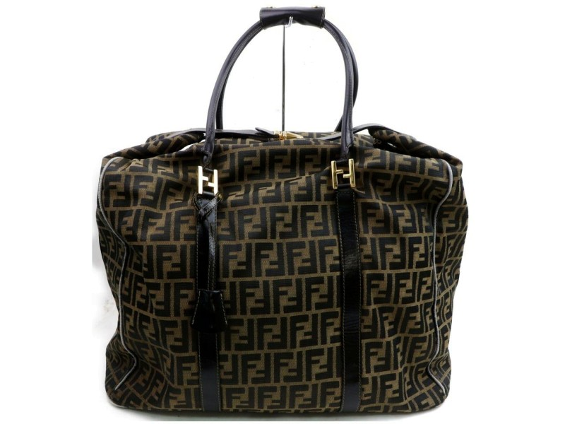 Fendi Boston Zucca 872591 Brown Canvas Weekend/Travel Bag
