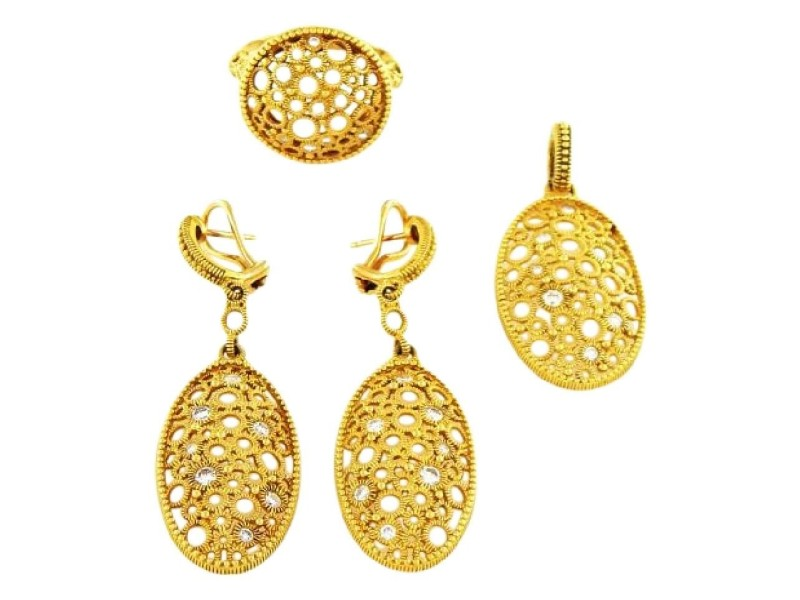 Judith Ripka Oval Yellow Gold Diamond Set Earrings, Pendant, and Ring Size 10.25