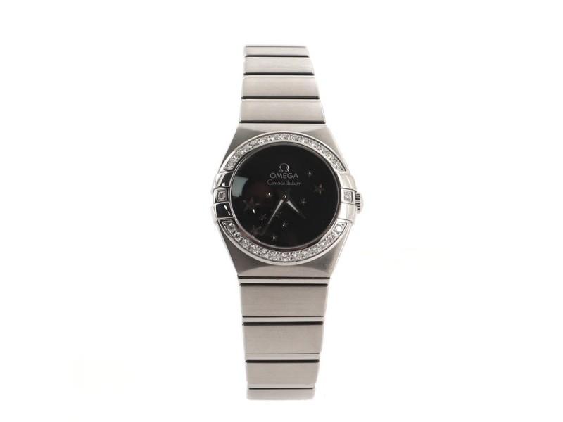 Omega Constellation Orbis Star Quartz Watch Stainless Steel with Diamond Bezel 24