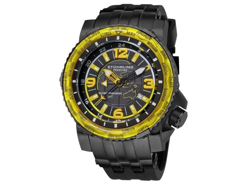 Stuhrling Prestige Marine World Timer 319177-48 Stainless Steel & Rubber 50mm Watch