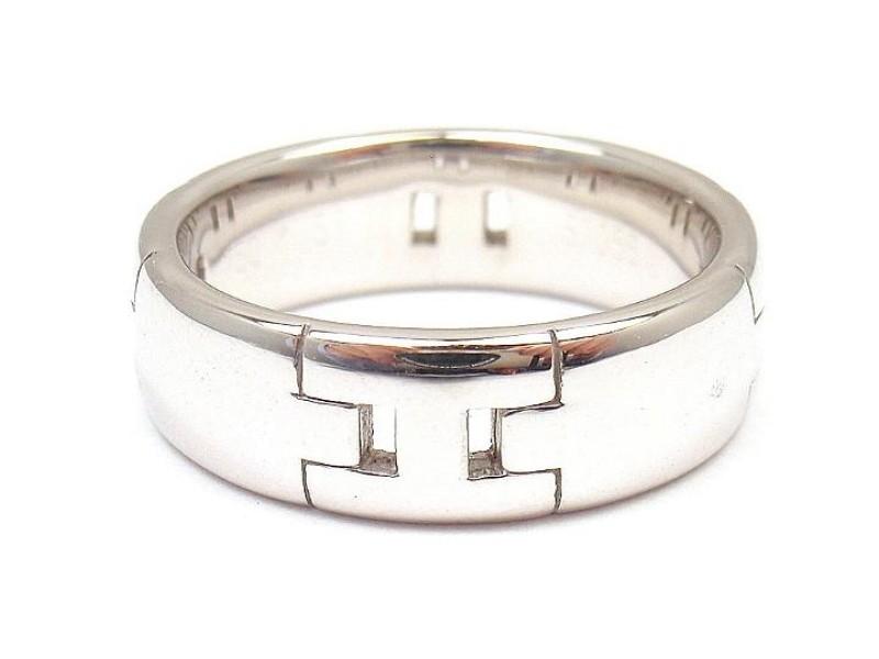 Hermès 18K White Gold Hercules H Ring Size 4.5