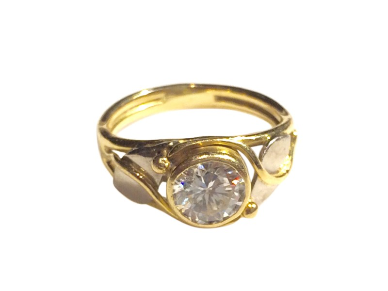 Jewelsmith 18K Yellow & White Gold Solitaire Diamond Ring
