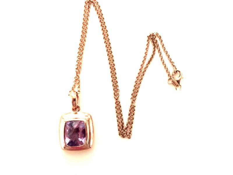 14K Rose Gold Necklace Amethyst Quartz Cushion Pendant