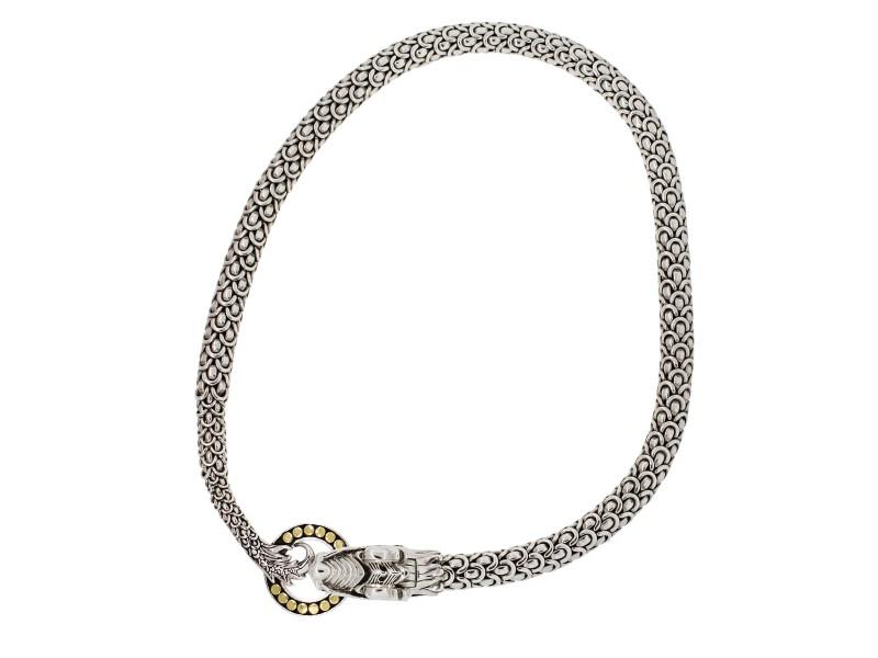 John Hardy 18K Yellow Gold, 925 Sterling Silver Diamond Necklace