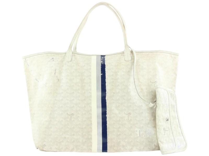 Goyard Large White Chevron St Louis GM Tote Bag with Pouch 534g3