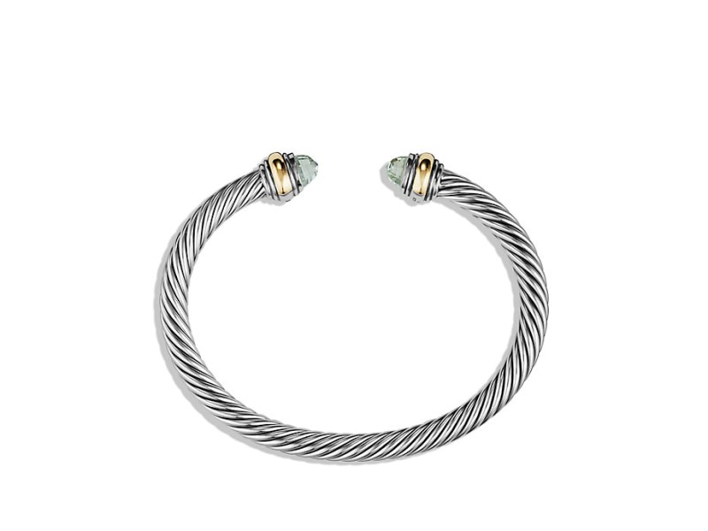 David Yurman Sterling Silver & 14K Yellow Gold Prasiolite Cable Classics Bracelet