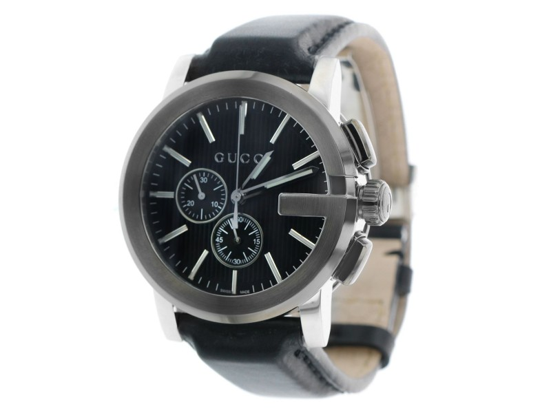 G-Chrono Black Dial Black Leather Men's Watch