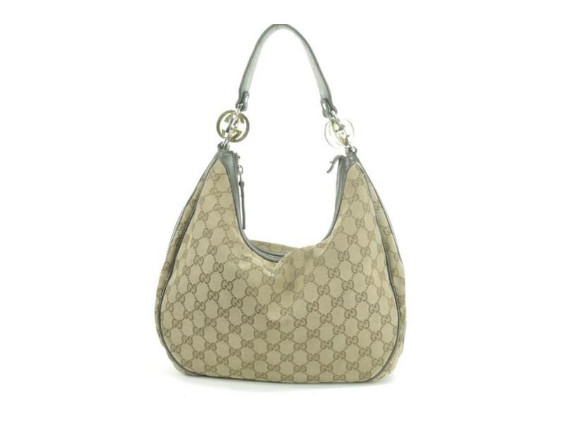Gucci 4gk0107 Monogram Twins Brown Gg Canvas Hobo Bag