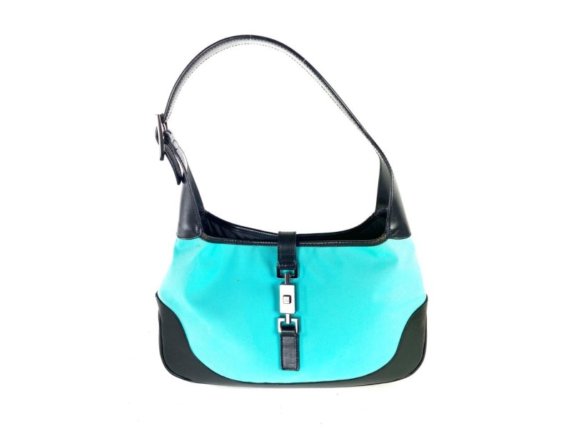 Gucci Bardot Jackie Jackie-o Piston 3gg64 Blue Nylon Hobo Bag