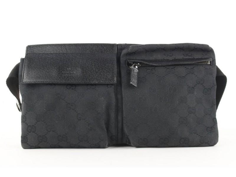Gucci  Black Monogram GG Belt Bag Fanny Pack Waist Pouch 564ggs311
