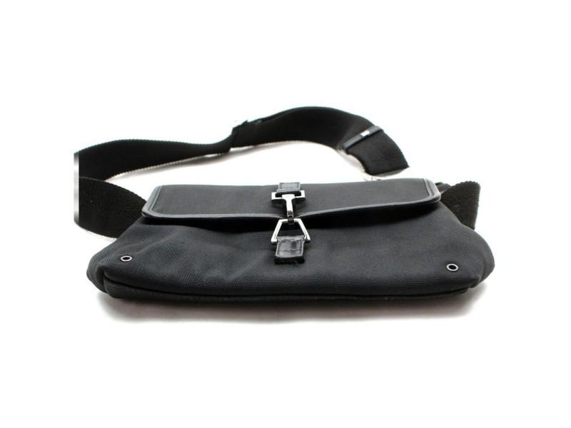 Gucci Belt Fanny Pack Waist Pouch 872357 Black Canvas Shoulder Bag