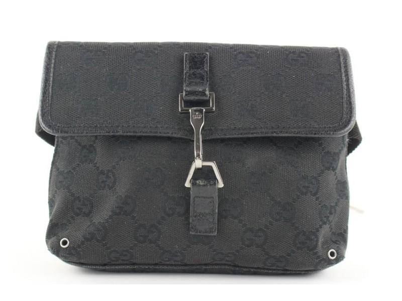 Gucci Black Monogram GG Fanny Pack Waist Pouch Belt Bag 554ggs310