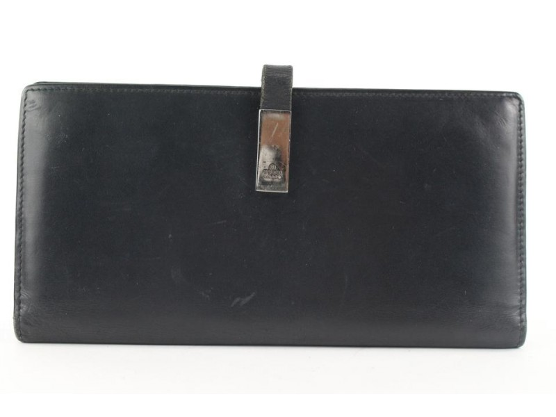 Gucci Black Leather Long Bifold Flap Wallet 161gks53
