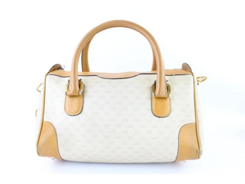 Gucci Boston Bandouliere 2way 3gj0112 White X Brown Leather Satchel