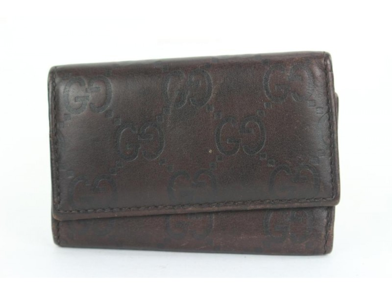 Gucci Brown GG Leather Guccissima 6 Key Holder Wallet Case 2ga112