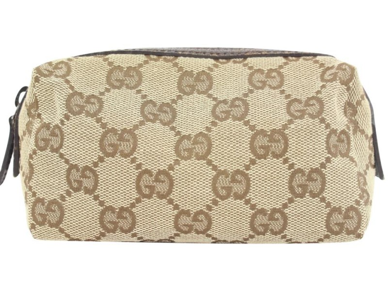 Gucci Brown Monogram GG Cosmetic Pouch Toiletry Case Make Up Bag 29ggs114