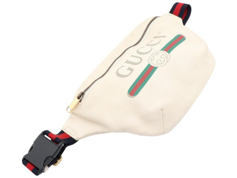 Gucci White Leather Web Waist Pack Belt Pouch Bum Bag 8611624