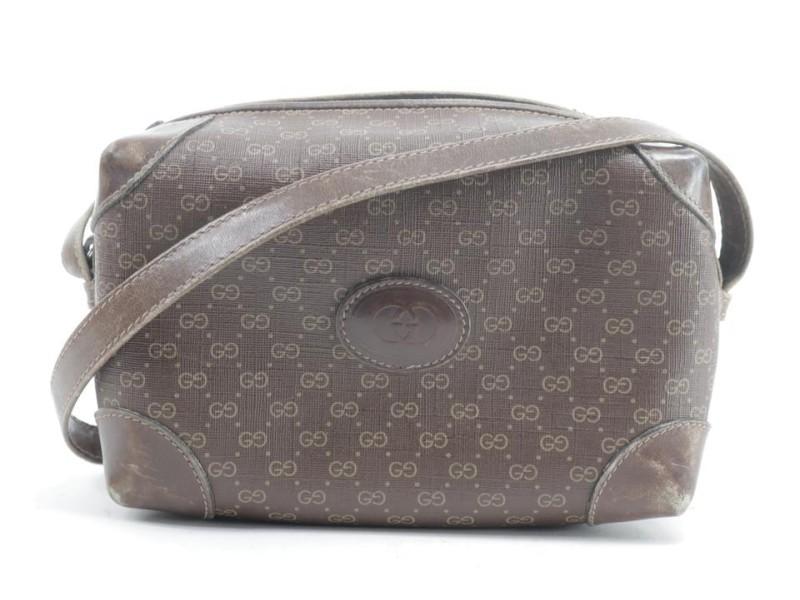 Gucci Camera 2gk0114 Monogram Brown Micro Gg Coated Canvas Cross Body Bag