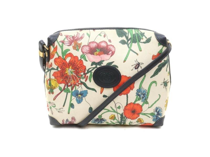 Gucci Navy Flora Floral Crossbody Bag 863210