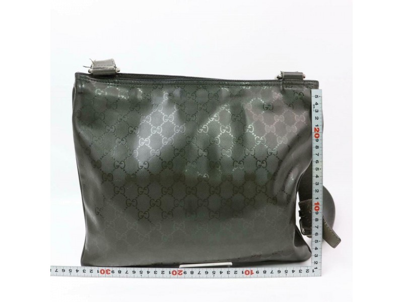 Gucci Messenger Dark Monogram Crystal 870445 Green Coated Canvas Cross Body Bag