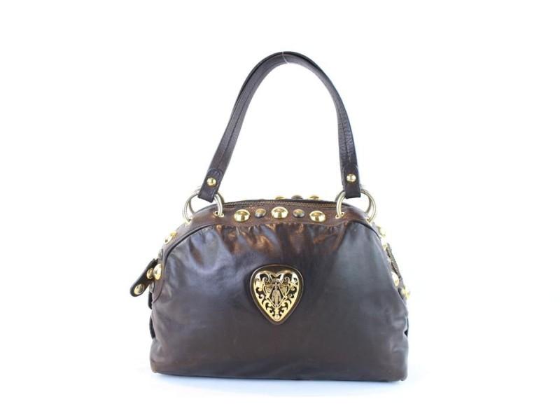 Gucci Dome Babouska Studded 2gj1119 Brown Leather Shoulder Bag