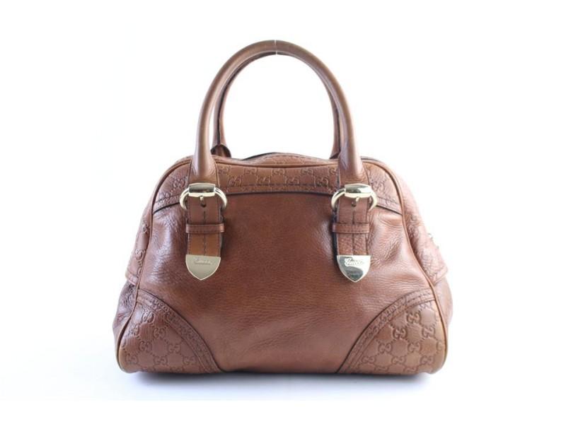 Gucci Boston Dome Signoria 29gr0426 Brown Guccissima Leather Satchel