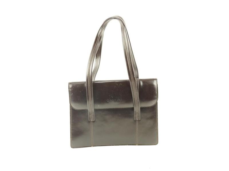 Gucci Brown Patent Flap Shoulder Bag 700gks319