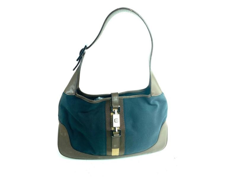 Gucci Jackie Web Jackie-o Brown 12gga63 Black Canvas Hobo Bag