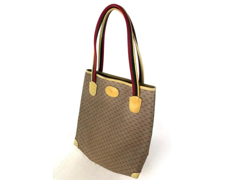 Gucci Micro Gg Logo Web Shopper 17g614 Brown Coated Canvas Tote
