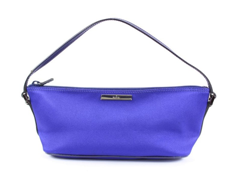 Gucci Blue-Purple Satin Baguette Pouch Wristlet Mini Bag 15ggs1229
