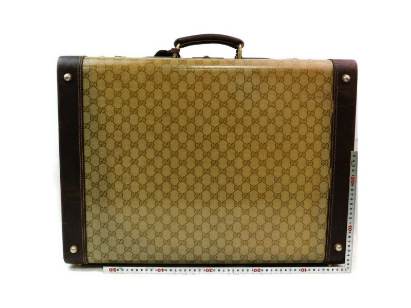 Gucci Steamer Crystal Gg Monogram Hard Case Trunk 871911 Brown Coated Canvas Weekend/Travel Bag