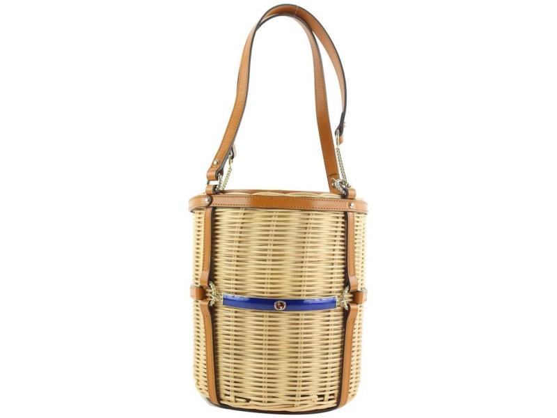 Gucci FW19 Limited Straw Wicker Cestino Bucket Tote Bag 252gks56