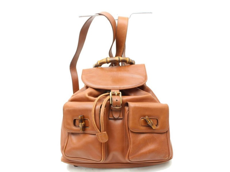 Gucci Twin Pocket Bamboo 869665 Brown Leather Backpack