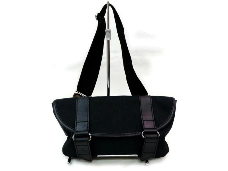 Gucci Waist Monogram Belt Pouch Fanny Pack 871917 Black Gg Canvas Cross Body Bag